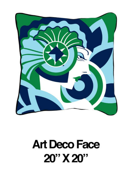 Art Deco Face Green/Blue