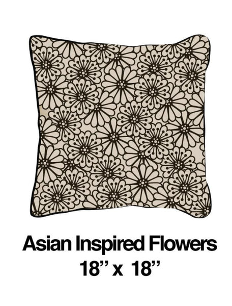 Asian Inspired Flowers Black Oatmeal - ModShop1.com