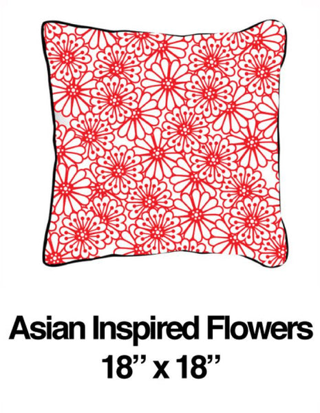 Asian Inspired Flowers Red