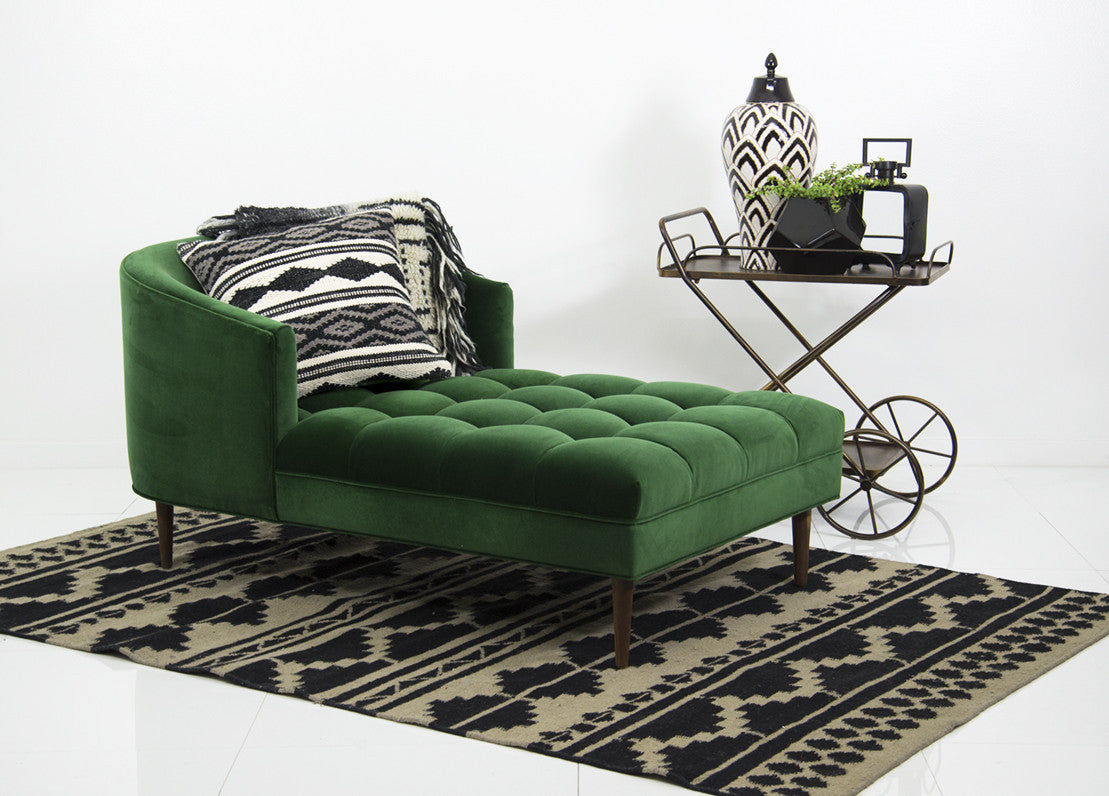 Very best St. Barts Chaise Lounge in Emerald Velvet - ModShop TP02