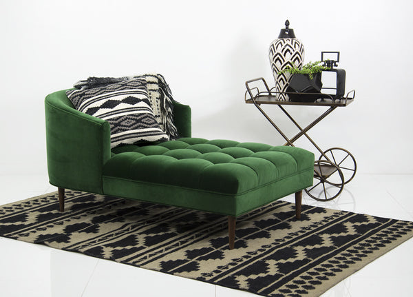 St. Barts Chaise Lounge in Emerald Velvet - ModShop1.com