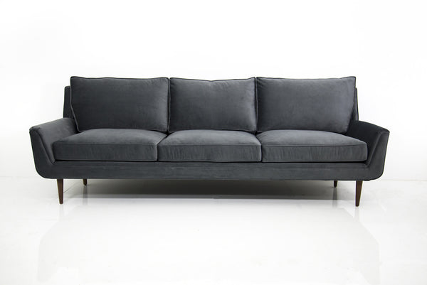 Stockholm Sofa in Charcoal Grey Velvet - ModShop1.com