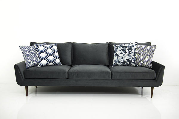 Stockholm Sofa in Charcoal Grey Velvet
