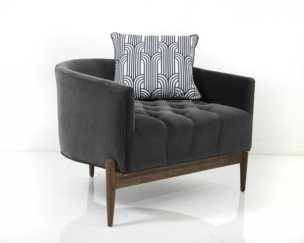 Tufted Art Deco Chair in Charcoal Grey Velvet
