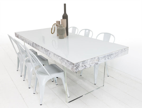 Cody Dining Table in White Recycled Wood