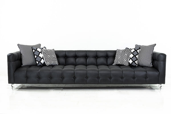 Delano Sofa in Black Faux Leather