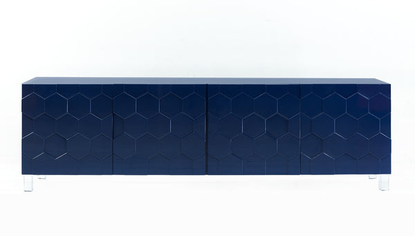 Martinique Credenza in High Gloss Navy Blue Lacquer