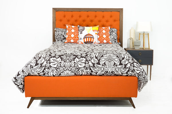 Stockholm Bed in Kline Saffron Linen with Walnut Frame