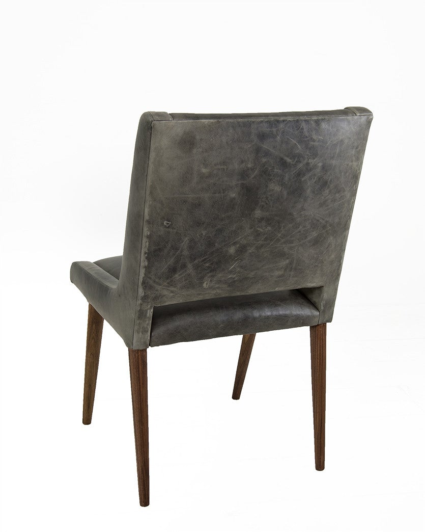 Mid Century Dining Chair in Distressed Grey Leather - ModShop