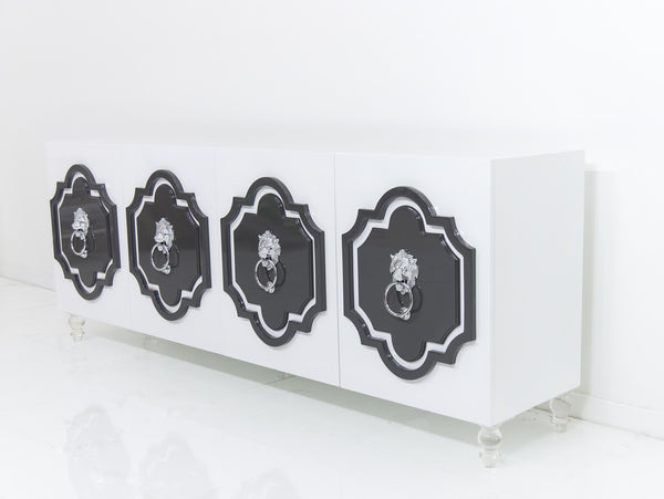 Marrakesh 4 Door Credenza with Lion Head hardware