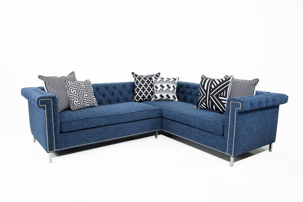 Sinatra Sectional In Navy Linen
