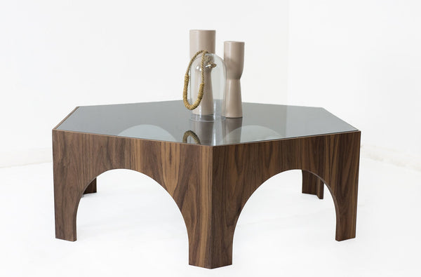 Walnut Hexagon Coffee Table