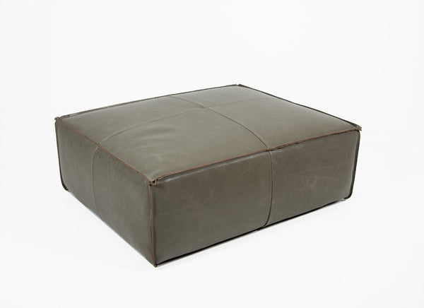 Deconstructed Edge Ottoman in Grey Leather
