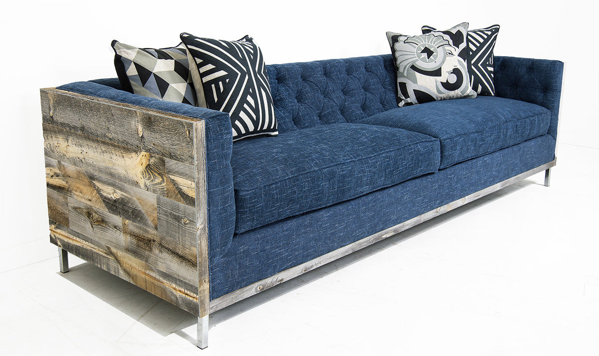 Koenig Cody Sofa in Navy Textured Linen - ModShop1.com