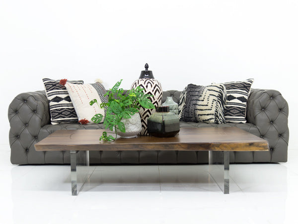 Palm Beach Sofa In Charcoal Grey Faux Leather