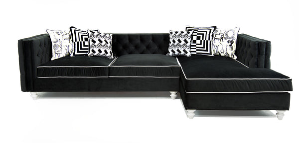 New Deep Inside Out Sectional in Black Velvet