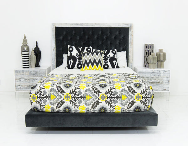 Cody Bed in Charcoal Velvet
