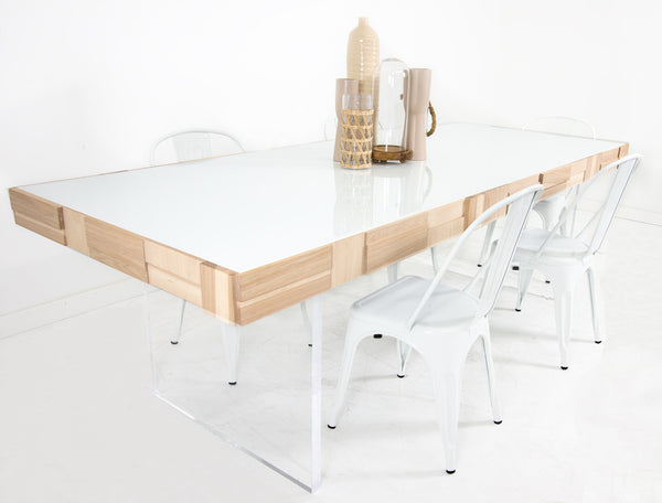 Kubist Dining Table with Lucite Plinth Legs