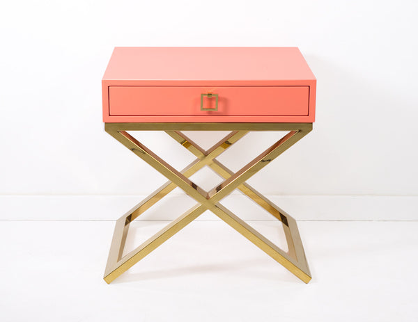 Boca X Leg Side Table in Coral