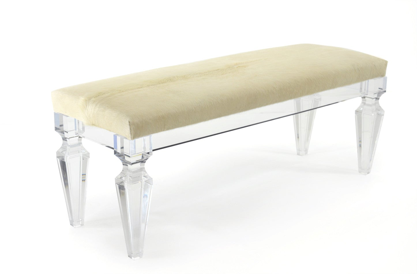 Lucite Bench with Blonde Cowhide Seat - ModShop1.com