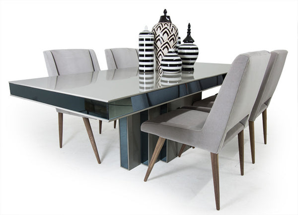 art deco dining table in greystone