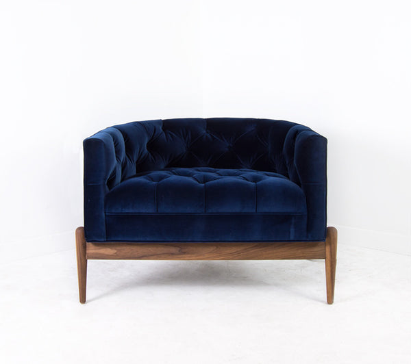 Tufted Art Deco Chair in Como Indigo
