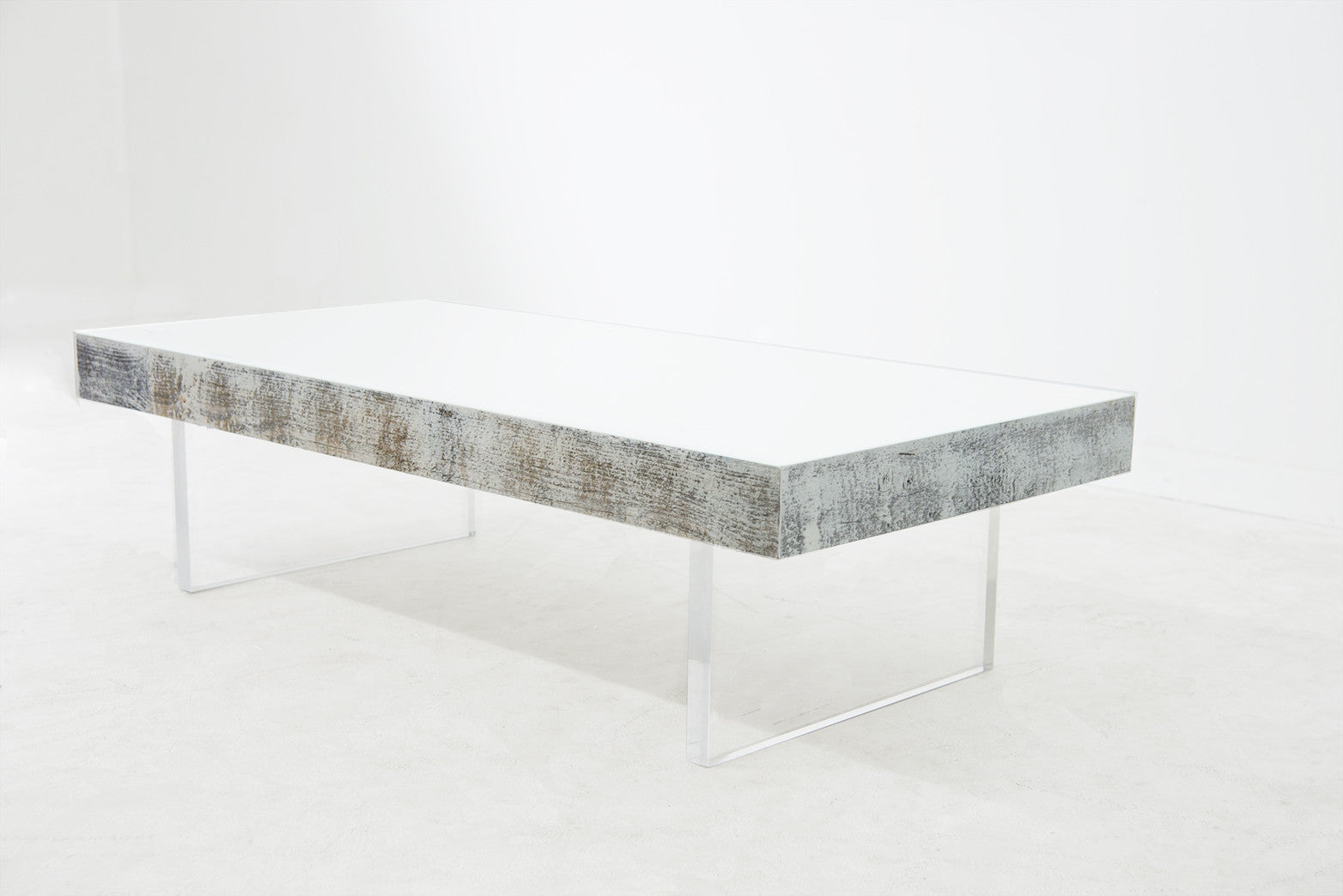 Cody Coffee Table With White Glass Top And Lucite Legs