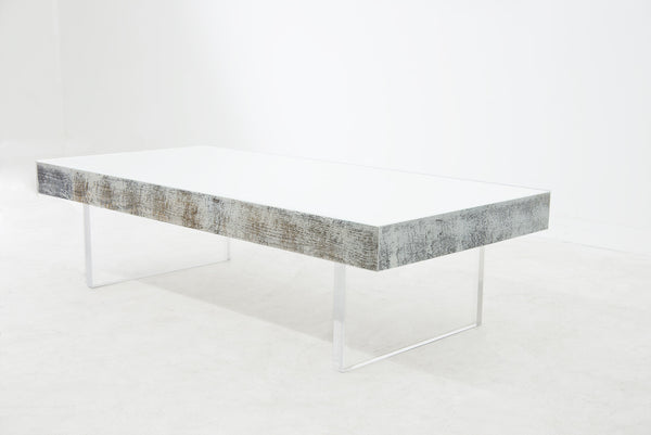Cody Coffee Table with White Glass Top and Lucite Legs - ModShop1.com