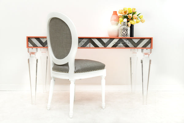 Capri Desk in Coral with Palm Beach Legs