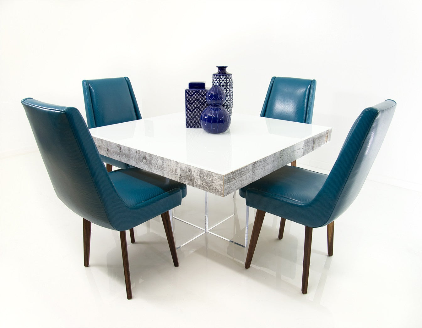 Modern Square Dining Table In White Recycled Wood Modshop