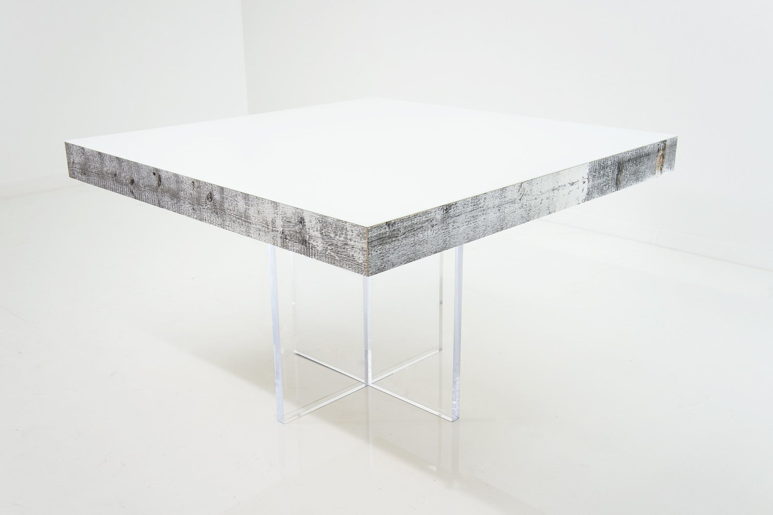 modern square dining table in white recycled wood  modshop - cody square dining table in white recycled wood