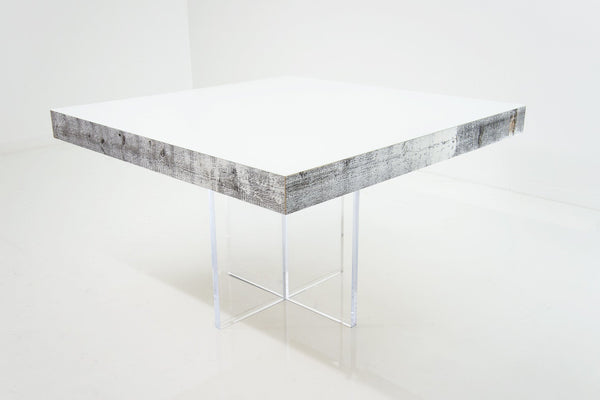 Cody Square Dining Table in White Recycled Wood