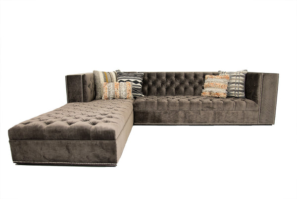 Fat Albert Tufted Sectional in Brussels Sky Grey