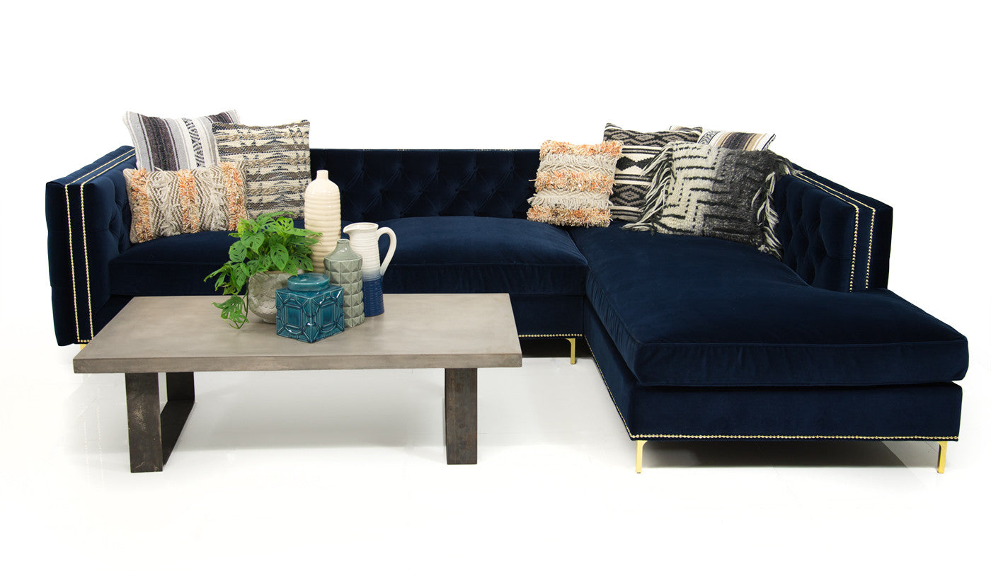 new deep inside out sectional in navy velvet modshop. Black Bedroom Furniture Sets. Home Design Ideas