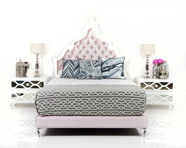 Mykonos Hand Carved Bed with Blush Velvet