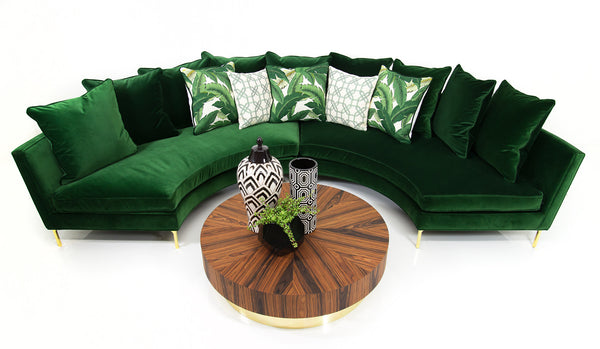 Sardinia Sectional in Emerald Velvet