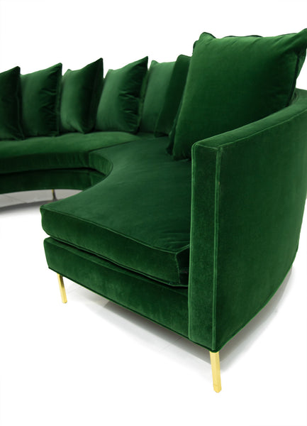 Sardinia Sectional in Emerald Velvet - ModShop1.com