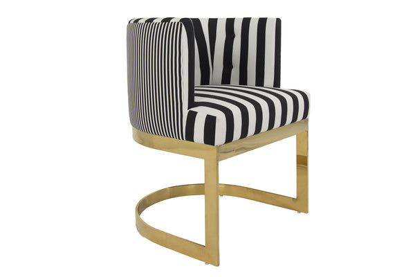 Sideview of ibiza dining chair in stripes