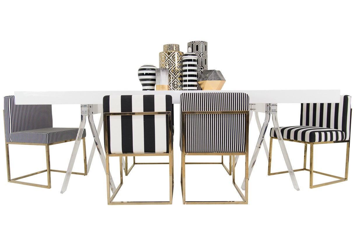 Modern Black and white striped dining chair - ModShop