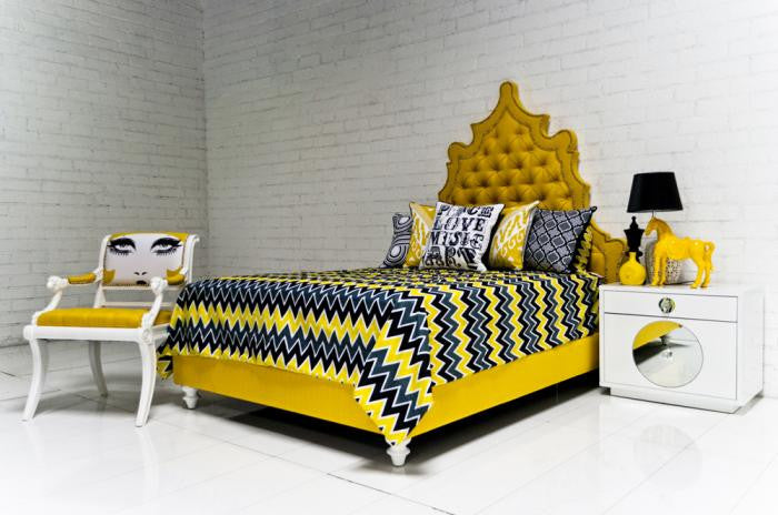 Zig Zag Bedding In Yellow Gray Black Modshop