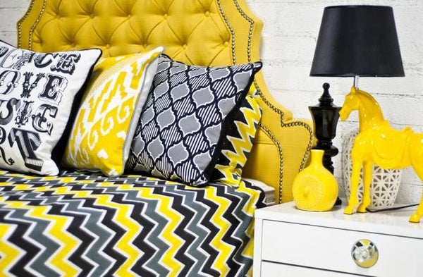 Zig Zag Bedding in Yellow/Gray/Black - ModShop1.com