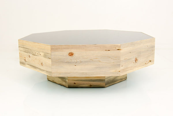 Recycled Beetlewood/Grey Glass Octagon Coffee Table