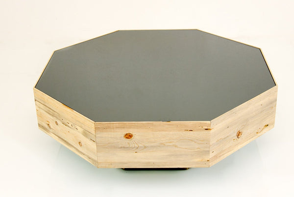 Recycled Beetlewood/Grey Glass Octagon Coffee Table - ModShop1.com