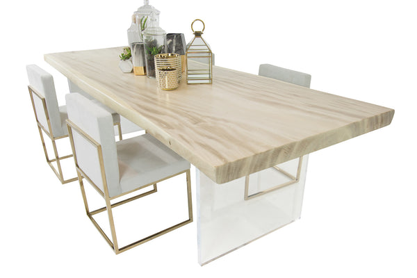 Bleached Slab Dining table w/ Lucite Plinth legs