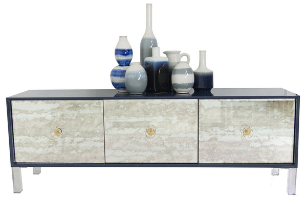 Juliette 3 Door Credenza in Navy - ModShop1.com