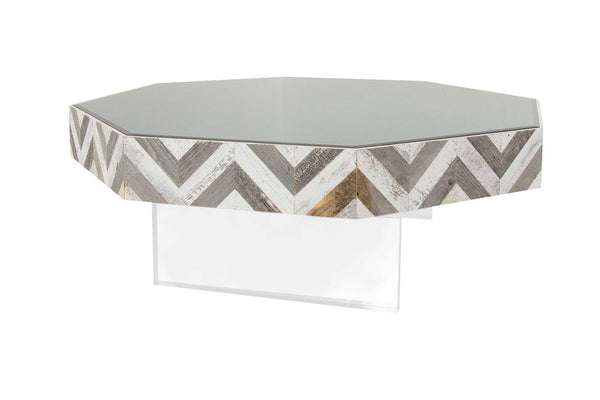 Capri Octagon Lucite Plinth Coffee Table