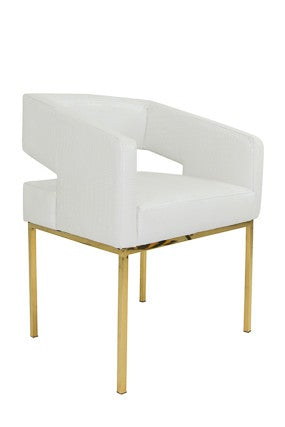 Open Back Chair in Faux White Croc and Brass Legs - ModShop1.com