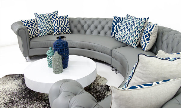 Chesterfield Circle Sectional in Grey Leather
