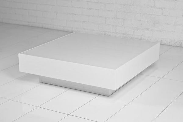 white starfire glass floating box coffee table