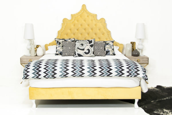 Casablanca Bed in Yellow Velvet